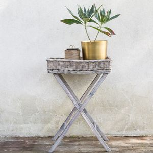 Wicker And Wood Trey Table - side tables
