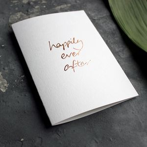 'Happily Ever After' Rose Gold Foil Wedding Card