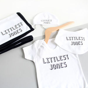 Personalised New Baby Gift Set, Littlest Family Member - clothing