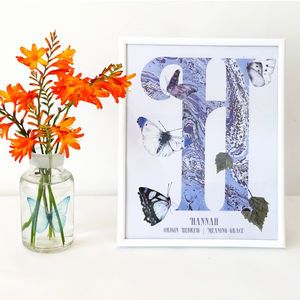 Personalised Butterfly Initial Print
