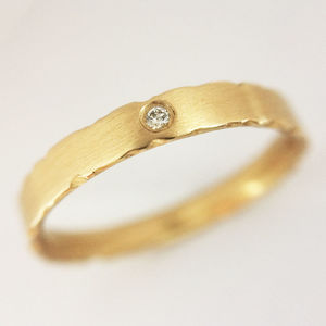 9ct Gold Diamond Ring With Nibbled Edges