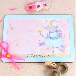 Blue Mousie Ballerina Placemat - children's tableware