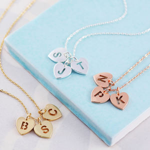 Pierced Heart Triple Initial Necklace - anniversary gifts