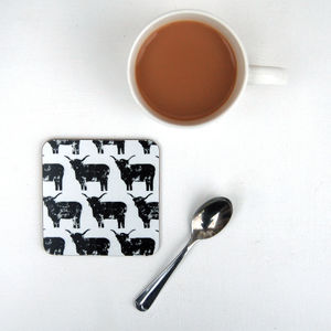 Set Of Four Highland Cow Coasters - trays
