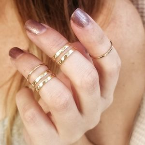 Gold Midi Ring Set Of Four - rings