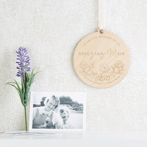 In Memory Of Mum Floral Wooden Keepsake