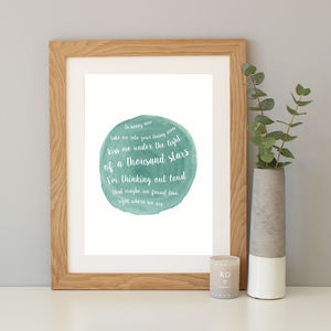 Personalised Song Lyrics Watercolour Print