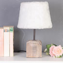 French Alps Wooden Cube Table Lamp With Faux Fur Shade
