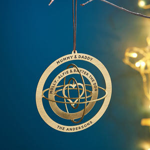 Personalised Solid Brass Globe Christmas Decoration - best of baubles
