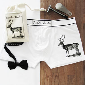 Stag Print Personalised Boxer Briefs - men's fashion