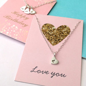 Initial Heart Necklace On Gift Card - necklaces & pendants
