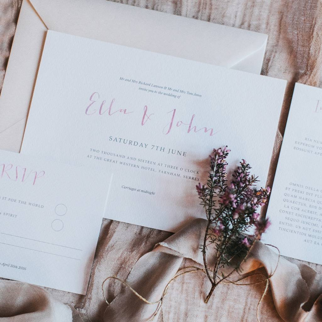 Love Story Wedding Invitation Set By Lilac & White