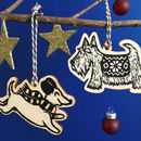 Wooden Dog Christmas Tree Decorations