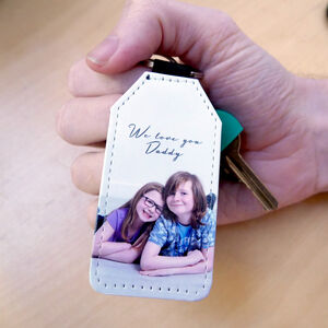 Personalised Photo Gift Keyring Faux Leather