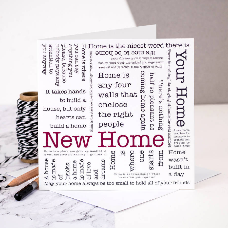 New Home Quotes New Home And New Address Cards  Notonthehighstreet
