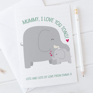 I Love You Tons Elephant Card For Mummy, Mum Or Mama