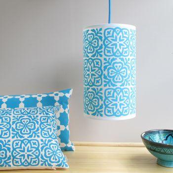 Moroccan Tile Long Drum Lampshade