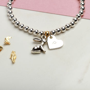 Personalised Bunny Rabbit Charm Bracelet Gift For Girls