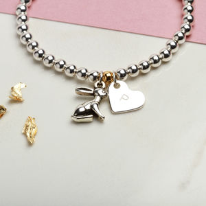 Personalised Good Luck Bunny Rabbit Charm Bracelet
