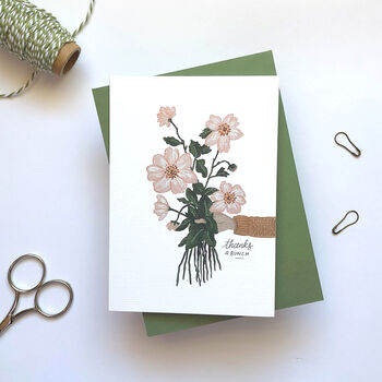 'Thanks A Bunch' Floral Thank You Friend Family Card