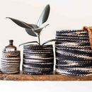 Charcoal Cloud Woven Basket
