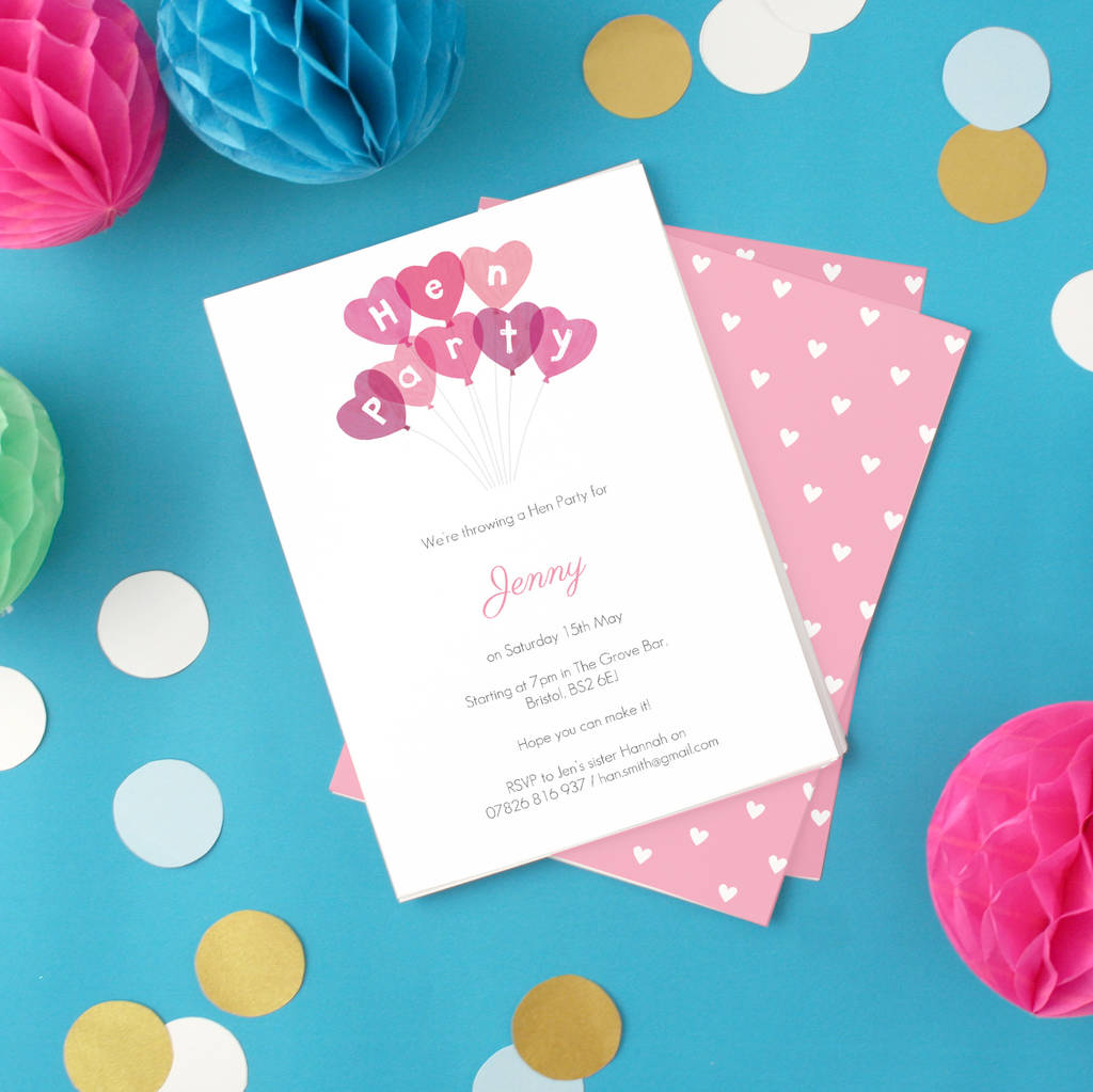 personalised hen party invitations by made by ellis ...