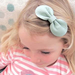Girls Leather Bow Hair Clip Mint Green