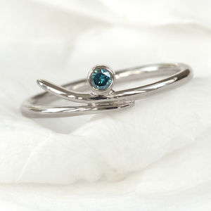 Blue Diamond Ring In 18ct White Gold - engagement rings