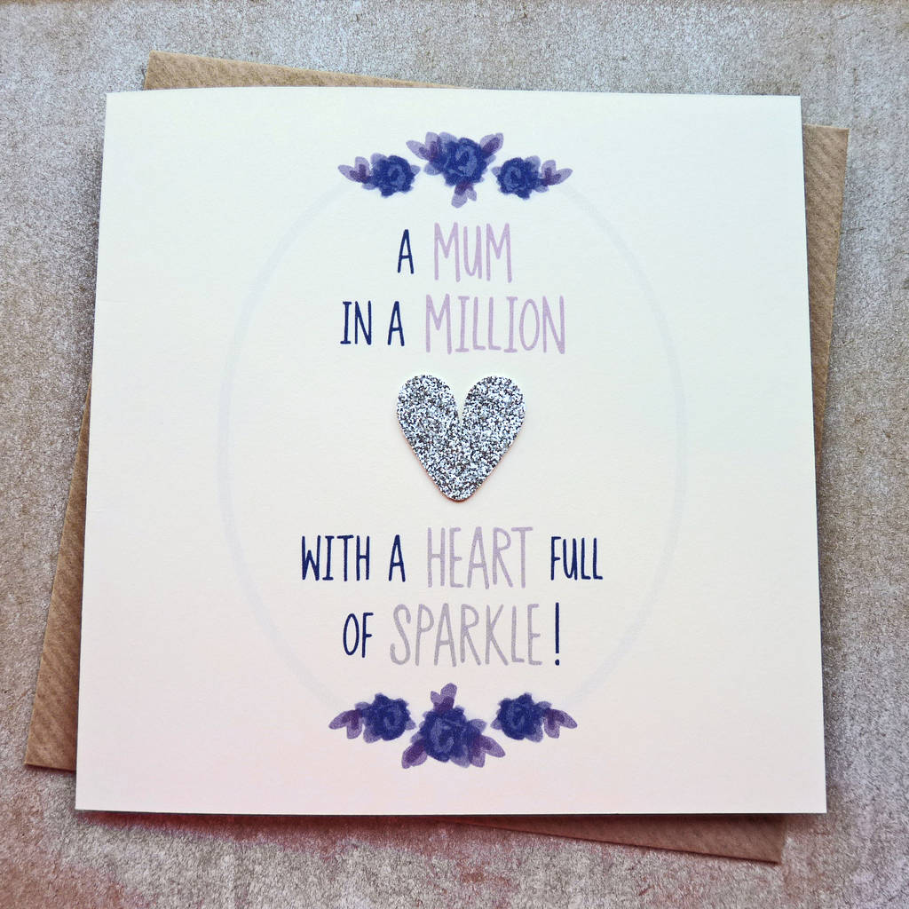 mum silver glitter heart full of sparkle birthday card by be good