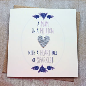 Mum Silver Glitter Heart Full Of Sparkle Birthday Card