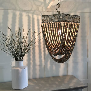 Natural Wooden Beaded Pendant Light - lighting