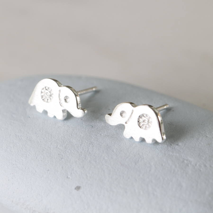 en earrings pink elephant kids enamel collection