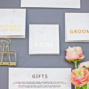 Marble And Gold Wedding Place Cards - wedding stationery