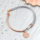 Personalised Diamond And 18ct Rose Gold Silk Bangle