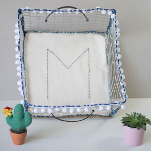 Shibori Handmade Personalised Wire Metal Storage Basket - storage & organisers