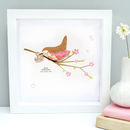 Personalised Baby Girl Bird Framed Art