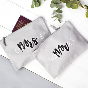 Personalised Couple's Travel Bag Set - passport & travel card holders