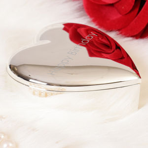 Personalised Silver Plated Heart Keepsake Box - keepsakes