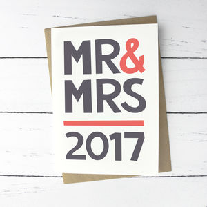 'Mr And Mrs' Modern Wedding Card - wedding cards & wrap