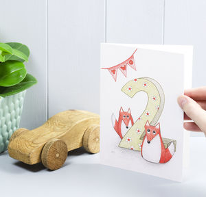 Happy 2nd Birthday Fox Greeting Card - birthday cards
