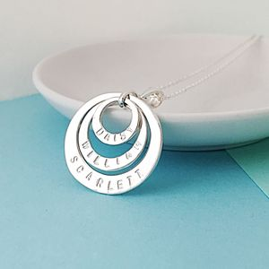 Personalised Silver Circles Names Necklace