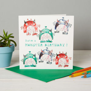 Boy's Monster Birthday Blank Card