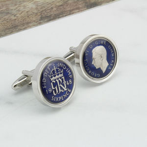 1948 Or 1958 Blue/Black Enamel Sixpence Cufflinks - 70th birthday gifts