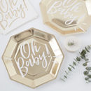 Gold Foiled Oh Baby Baby Shower Party Paper Plates