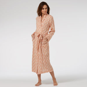 Ladies Cotton Dressing Gown In Speckle Stencil Print