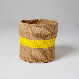 Medium Colour Pop Woven Basket Lemon Sherbet - living room