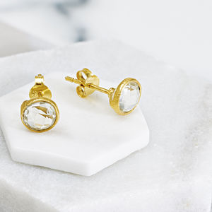 Gemstone Studs In 18ct Gold Vermeil - earrings