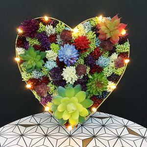 Handmade Succulent Heart Marquee Light - flowers
