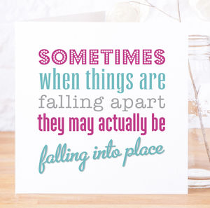 'Falling Into Place' Contemporary Quote Card - blank cards