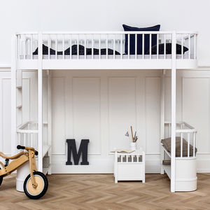 Children's Luxury High Loft Bed In White With Storage - beds